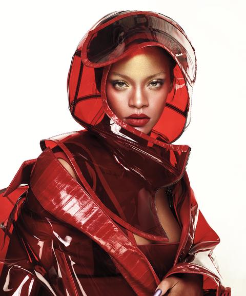 PVC coat and helmet, Dolce & Gabbana, Intarsia viscose bodysuit, Givenchy